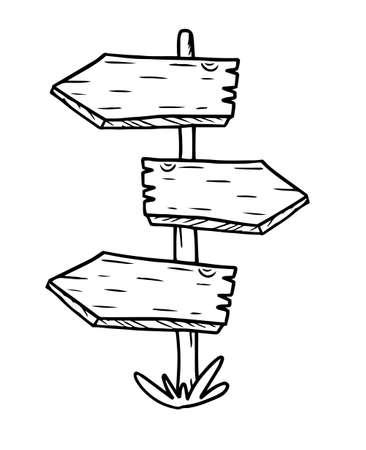 Houten wegwijzer met drie wijzers. Hand getrokken vectorillustratie met witte achtergrond. Schets van wegwijzer. Stock Illustratie