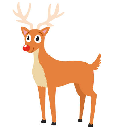 Vector illustration of a red nosed reindeer smiling and standing on white background