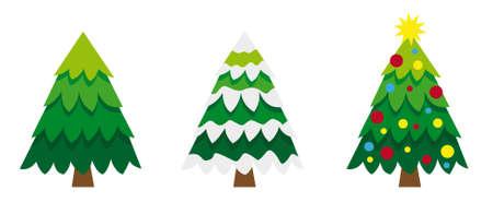 Three vetor versions of pine tree, one day, one snowed and christmas tree. Illusztráció