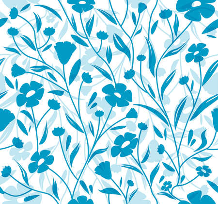 Flax flowers seamless blue pattern
