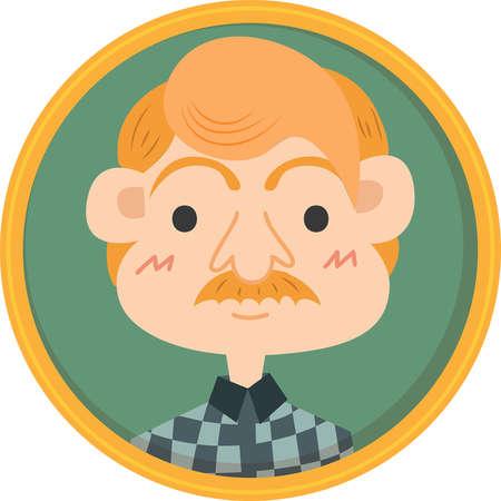 Framed portrait of middle aged man Illusztráció