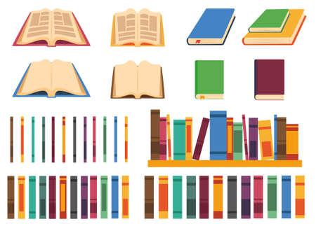 Set van vectorboeken in verschillende posities en verschillende kleuren: open, gesloten en verschillende boekstekels. Stock Illustratie