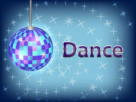 Blue disco ball with an inscription dance.