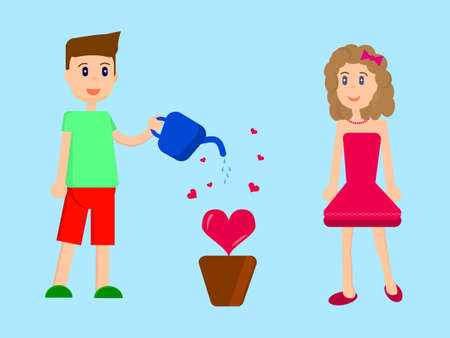 Flat vector illustration, boy and girl are watering love in the flowerpot. Ilustracja