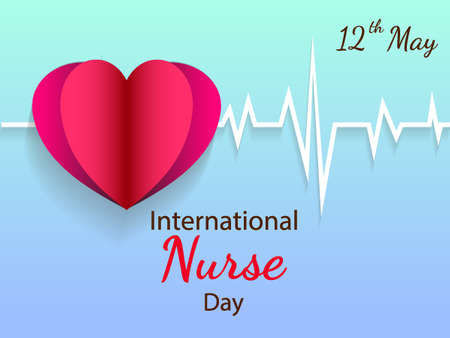 Paper heart on blue background with paper cardiogram vector illustration on international nurse day.