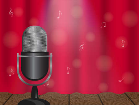 Vector illustration of a concept of karaoke, concert or festival. Microphone on stage and closed curtain. 矢量图像