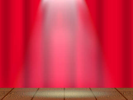 Closed red curtain on the theatre stage, Vector illustration.