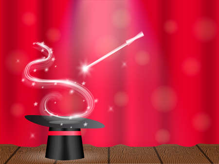 Magic wand and wizard's hat on a stage. Vector illustration. Ilustração