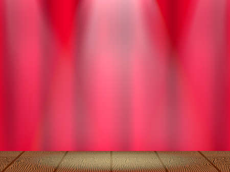 Closed red curtain on the theatre stage with three rays of light. Vector illustration.