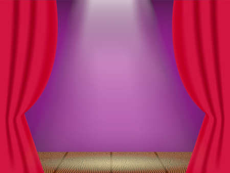 Open red curtains on the theatre stage with three rays of light. Vector illustration. Illustration