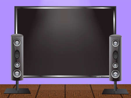 Vector illustration of a concept of home theater. Plasma TV on the wall and audio speakers on the wooden floor.