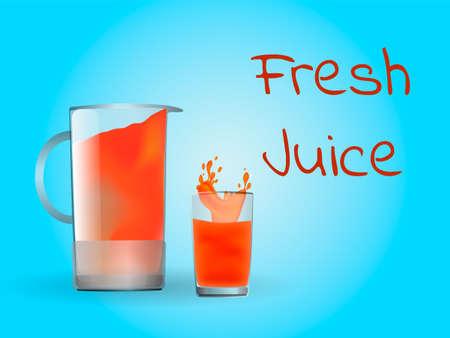 Glass and jug full of orange juice. Vector illustration