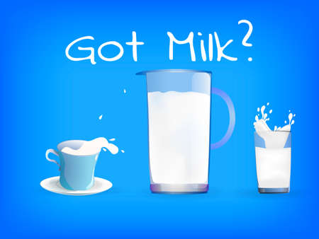 Glass, cup and jug full of milk. Inscription Got Milk? World Milk Day. Vector illustration