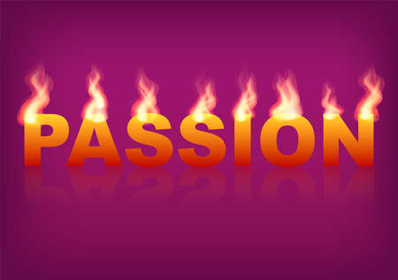 Word Passion with flames on the purple background. Vector illustration.