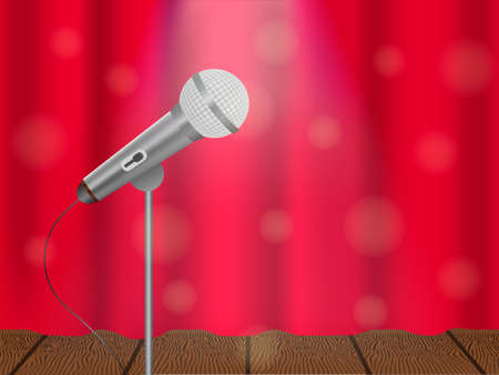 Vector illustration of a concept of karaoke, concert or festival. Microphone on stage and closed curtain. Vectores