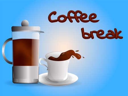 Caffè in una tazza e stampa francese, illustrazione di vettore della pausa caffè