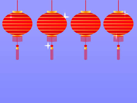 Many red chinese lanterns. Vector illustration. Space for text