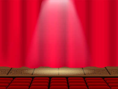 Vector illustration. Empty theater stage and closed curtains. Auditorium with empty seats. Illustration