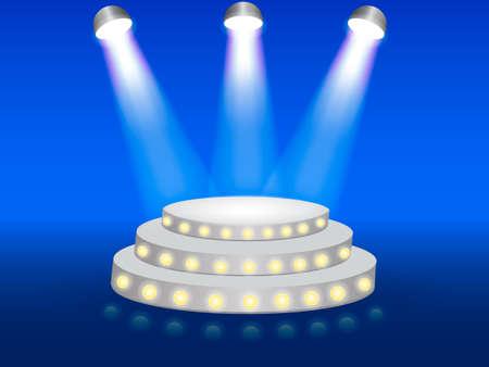 Podium illuminated with rays of light. Vector illustration.