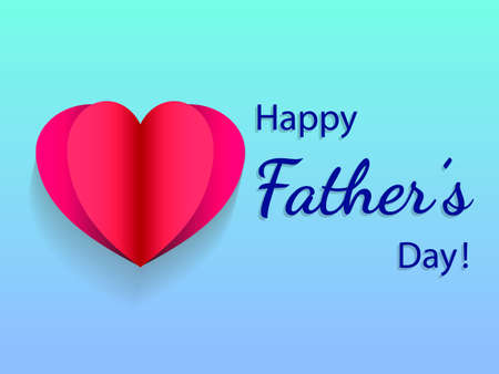 Paper heart on blue background. Vector illustration on fathers day. Иллюстрация