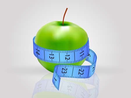 The apple is wrapped with a measuring tape. Detox concept vector illustration. Illusztráció