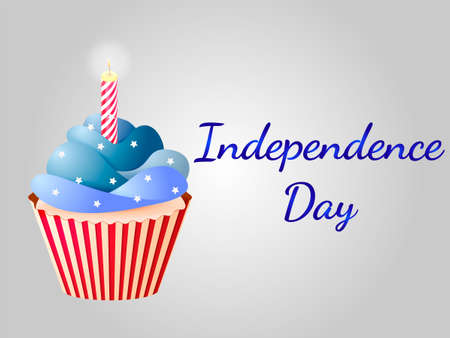 Cupcake in colors of a flag on the Independence Day of the USA vector illustration.