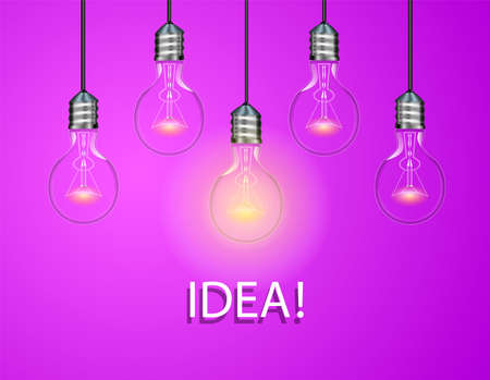 Electric bulbs on purple background. One light is on. Idea concept vector illustration.