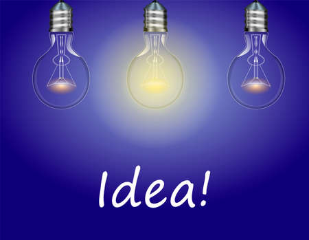 Three electric bulbs on blue background. One light is on Idea or concept Vector illustration