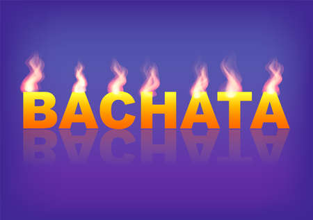 Word BACHATA with flames on the blue background. Vector illustration. Standard-Bild - 98976064