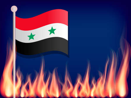Flag of Syria on the flagstaff. Flames from below. Vector illustration Ilustração