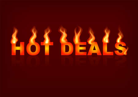 Words Hot deals with flames on the brown background. Vector illustration. Illustration