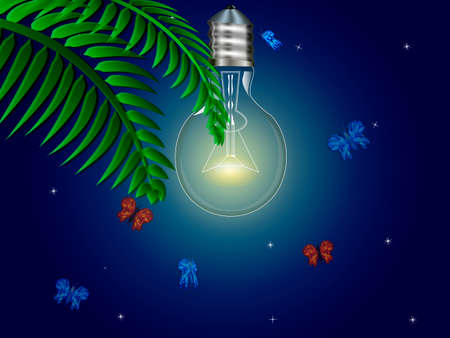 One electric bulbs switched on night. Night butterflies and a branch of a palm tree. Vector illustration