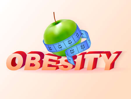 The apple is wrapped with a measuring tape. Obesity concept. Vector illustration Ilustração