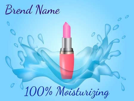 Pink lipstick with water splash. Vector illustration.