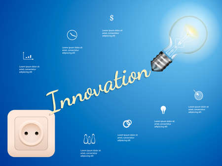 Electric bulb and switch on blue background. Innovation concept. Vector infographic illustration Illustration