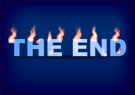 Word THE END with flames on the blue background. Vector illustration. Illustration