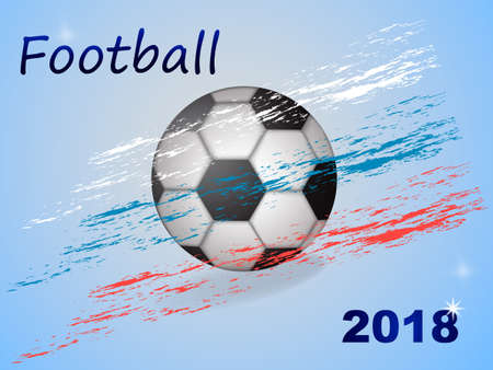 Soccer ball with three coal lines in the colors of the flag of Russia Vector illustration Ilustração