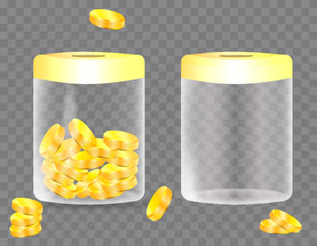Jar with golden coins and empty jar isolated on transparent background. Save your money concept. Vector illustration