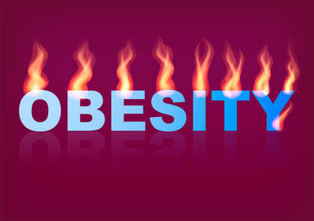 Word OBESITY with flames on the purple background. Vector illustration.
