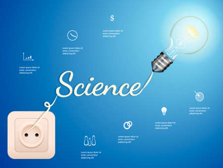 Electric bulb and switch on blue background. Science concept. Vector infographic illustration Ilustracja
