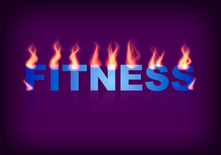 Word FITNESS with flames on the purple background. Vector illustration. Imagens - 100244114