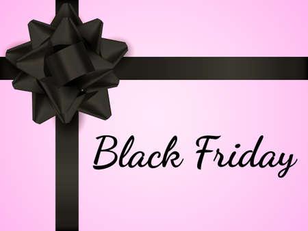 Black bow on a pink gift box. Black friday calligraphy. Vector illustration Ilustração