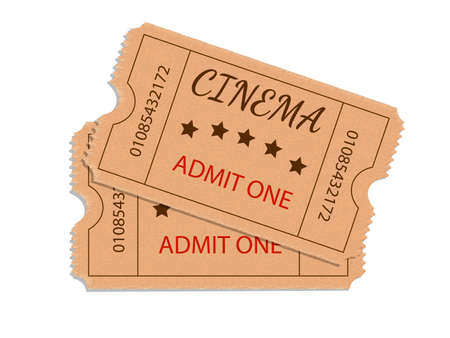 Two cinema tickets isolated on white background. Vector illustration