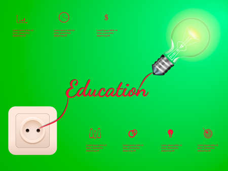 Electric bulb and switch on green background. Education concept infographic illustration. Illustration