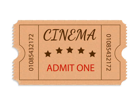 One cinema ticket isolated on white background. Vector illustration Illustration