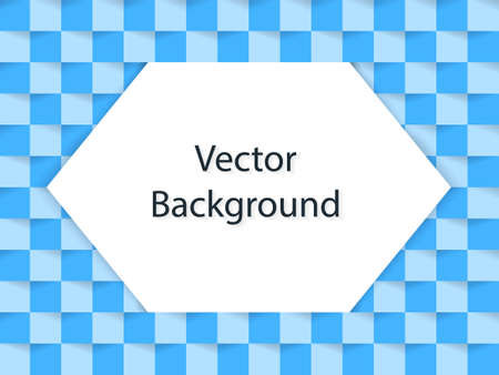 Abstract blue paper background with shadows. White hexagon in the center. Vector illustration. Иллюстрация