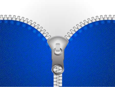 Los jeans azules con metal se desabrochan o abrochan el fondo de la cremallera. Espacio para texto. Ilustración de vector.