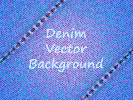 Blue jeans with two diagonal seams background. Vector illustration.