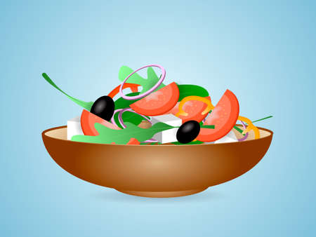Brown bowl full of vegetarian salad with rucola, black olives, pepper, tomato, onion and cheese. Vector illustration