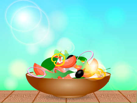 Brown bowl full of vegetarian salad with rucola, black olives, pepper, tomato and cheese. Vector illustration
